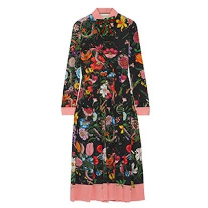 Pleated Printed Silk Crepe de Chine Dress
