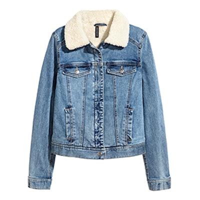 Pile-Lined Denim Jacket