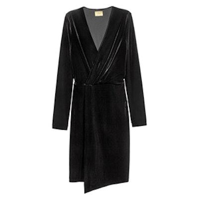 Velour Wrap-Front Dress