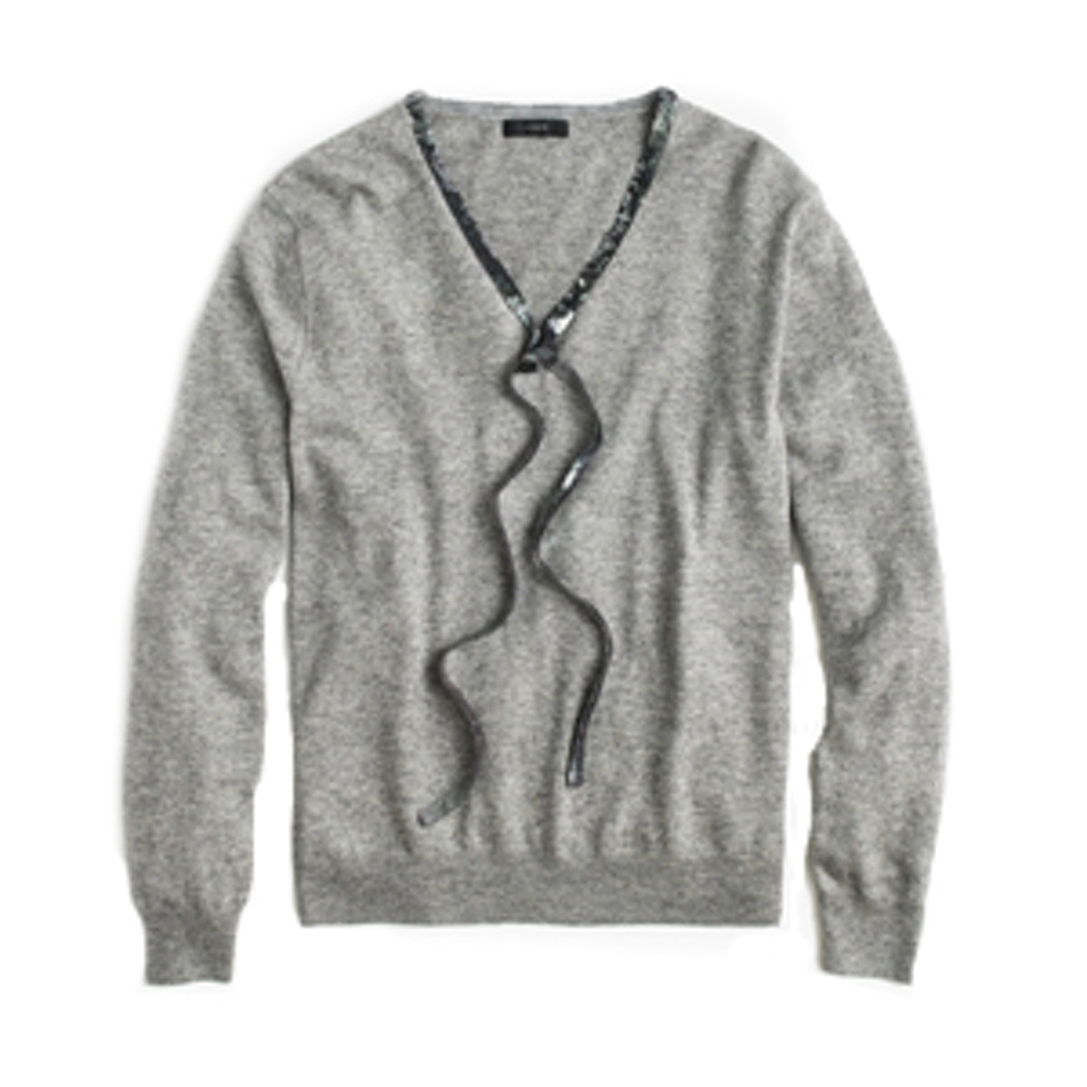Sequin Tie-Neck Sweater