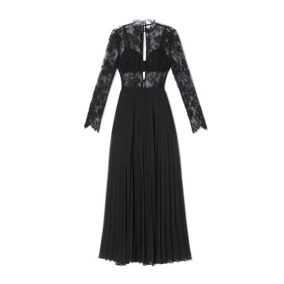 Karen Pleated Lace Gown