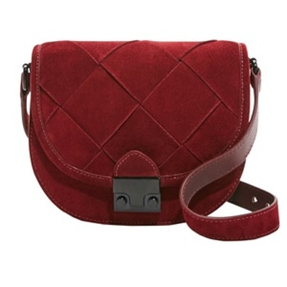 Woven Suede Saddle Bag