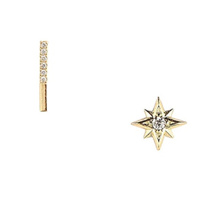 Pave Bar and North Star Earrings