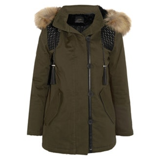 Faux Fur And Faux Leather Trimmed Twill Parka