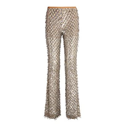 Embellished Stretch-Tulle Flared Pants