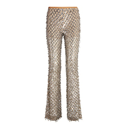 Embellished Stretch-Tulle Flared Pants