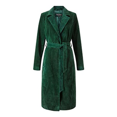Green Suede Trench Coat