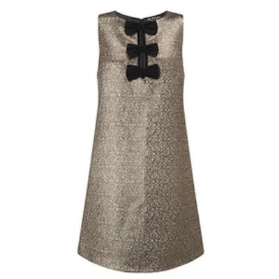 Velvet Bow Gold Shift Dress