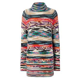 Turtleneck Tunic Rainbow Dress