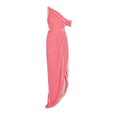 One-Shoulder Cutout Velvet Gown