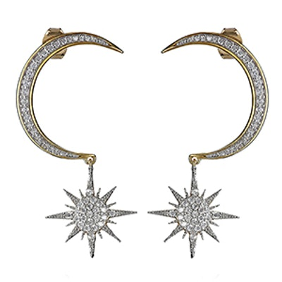 Noir Jewelry Crescent Moon and Starburst Earrings