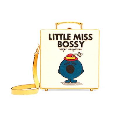 Little Miss Bossy Appliquéd Cotton-Faille Shoulder Bag