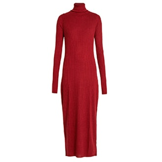 Roll-Neck Ribbed Fine-Knit Cashmere Dress