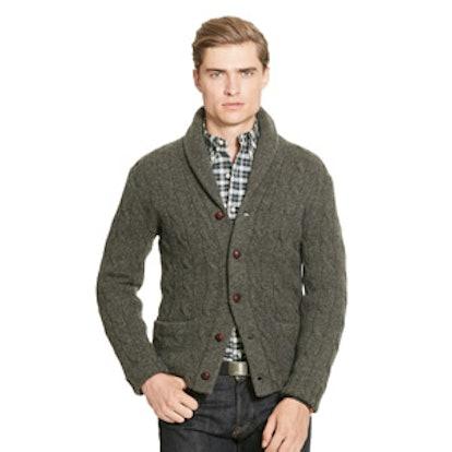 Shawl Collar Sweater with Toggle