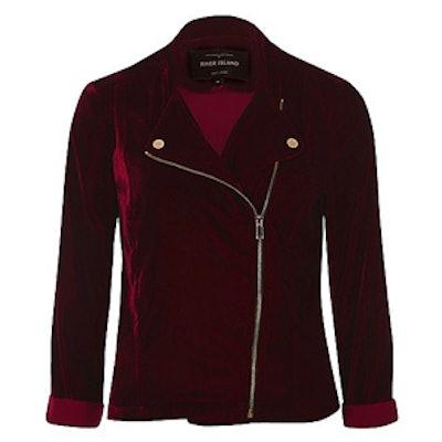 Dark Red Velvet Biker Jacket