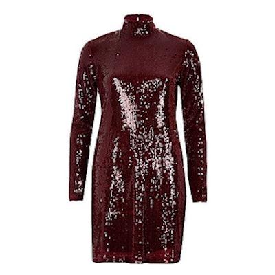 Turtleneck Sequin Dress