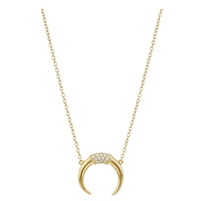 Shashi Pave Horn Gold-Plated Necklace