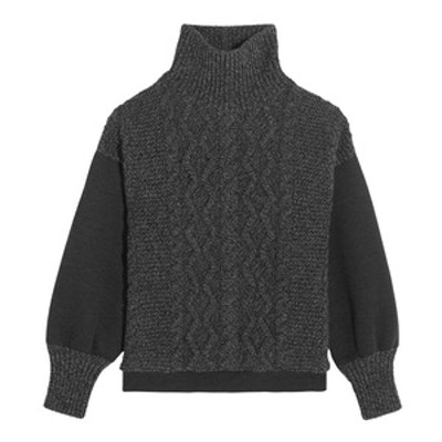 Cable-Knit Wool-Blend and Scuba-Jersey Turtleneck Sweater