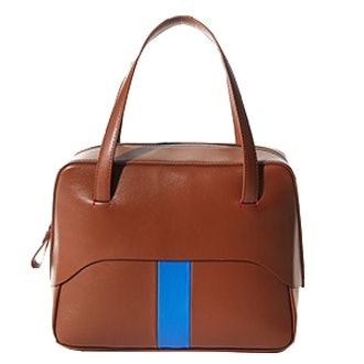 Mignon Bag By Myriam Schaefer In Cognac And Blue