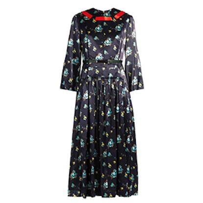 Floral-Print Contrast-Ribbon Satin Dress