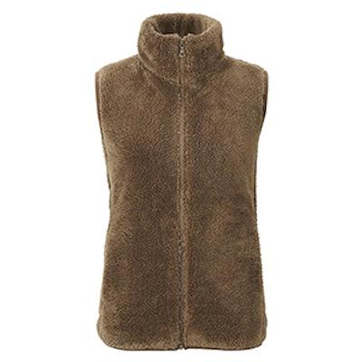 Fluffy Yarn Fleece Vest