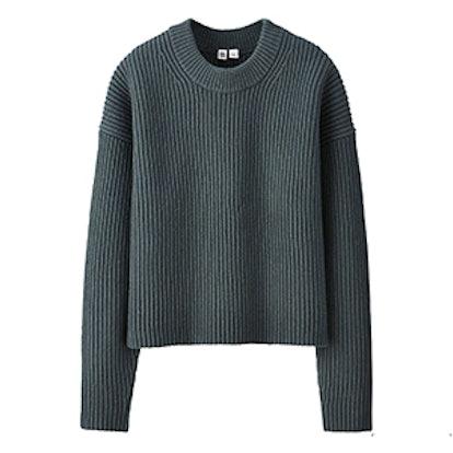 Lambswool Cropped Crewneck Sweater