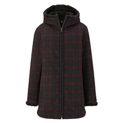 Printed Fluffy Long Sleeve Fleece Coat