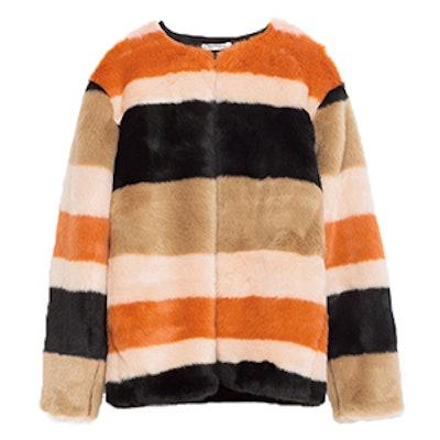 Faux Fur Striped Coat