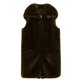Long Faux Fur Waistcoat with Hood