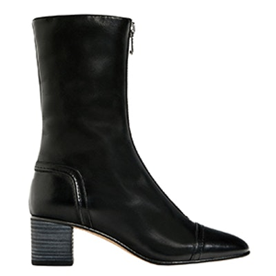 Medium Heel Zipped Ankle Boots