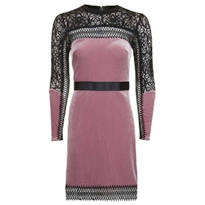 Geo Contrast Velvet Mini Dress