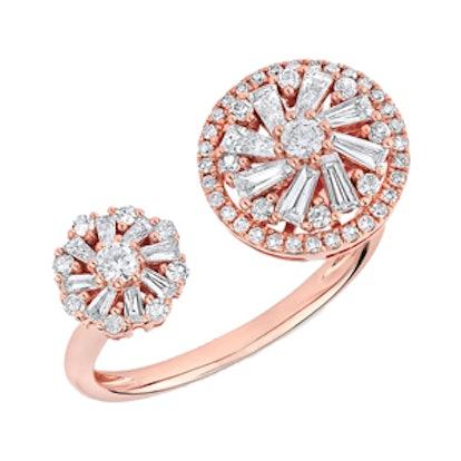 14KT Rose Gold Diamond Baguette Paris Ring