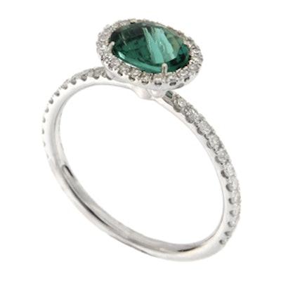 White Gold Green Tourmaline Ring