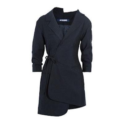 Wrap-Effect Pinstriped Wool-Piqué Mini Dress