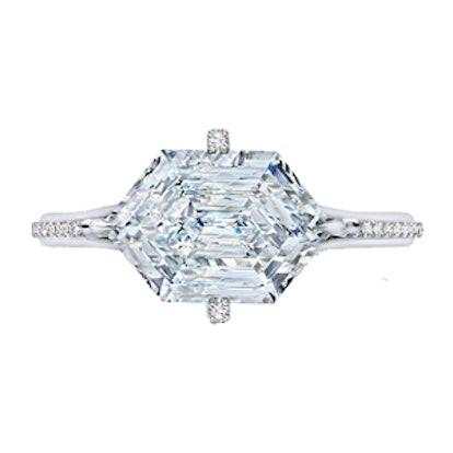 2.60 Carat Hexagonal Diamond Ring In White Gold