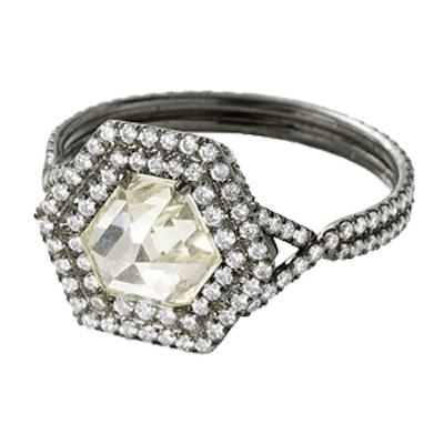 1.29 Carat Light Yellow Hexagonal Diamond Ring