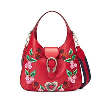 Dionysus Embroidered Leather Hobo