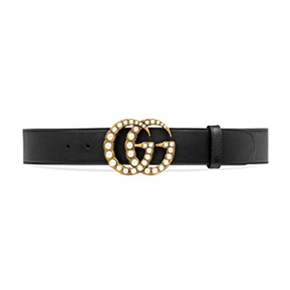 Leather Belt With Pearl Double G