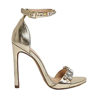 Metallic Embellished Heel Sandals