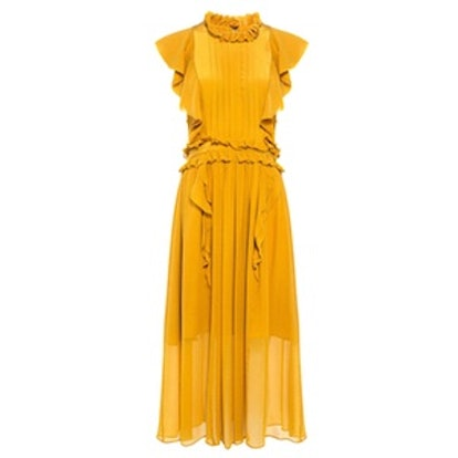 Florence Silk Ruffle Midi Dress