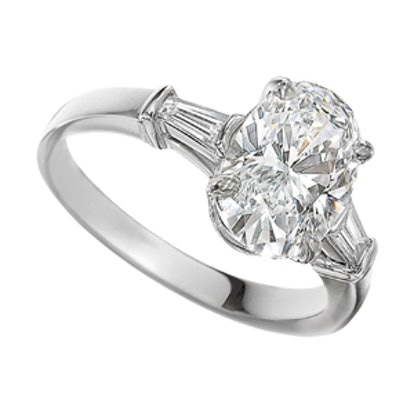 Griffe Oval Diamond Ring In Platinum