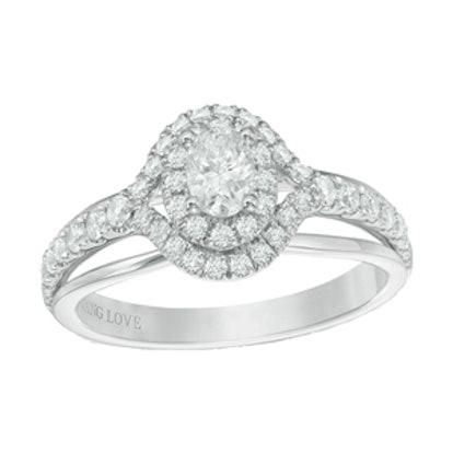 Oval Diamond Double Frame Split Shank Engagement Ring in 14K White Gold