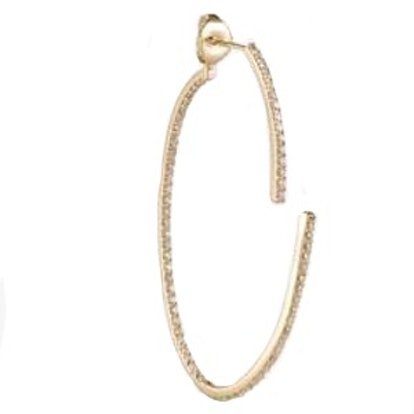 Open Oval Two Part Single Hoop With Full Diamond Pavé