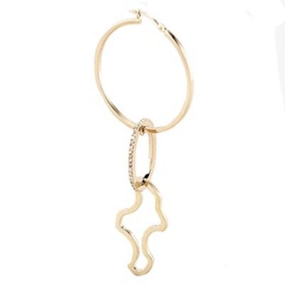 Diamond Pavé Oval Link Sculpture Single Statement Earring