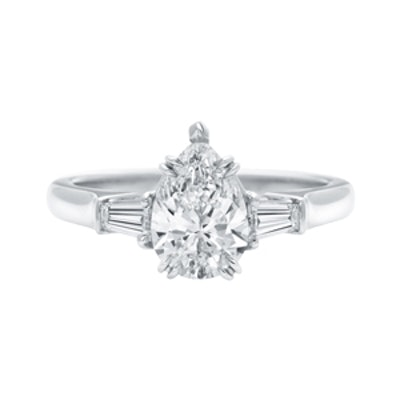 Pear-Shaped Engagement Ring With Tapered Baguette Side Stones