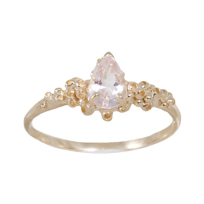Yellow Gold and Morganite Solitaire Ring By Ruta Reifen