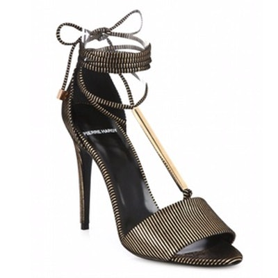 Blondie Stripe Leather & Metal Ankle-Tie Sandals