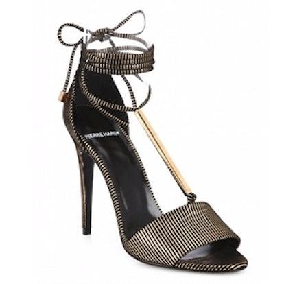 Blondie Stripe Leather & Metal Ankle-Tie Sandals