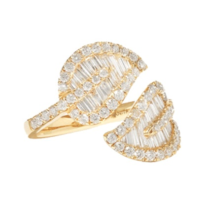 Leaf 18-Karat Gold Diamond Ring