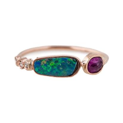 3 Diamond Opal & Ruby Ring